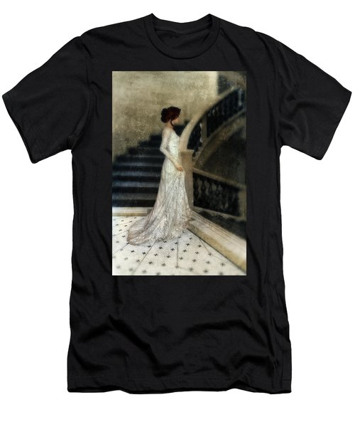 Woman In Lace Gown On Staircase Men's T-Shirt (Slim Fit) by Jill Battaglia