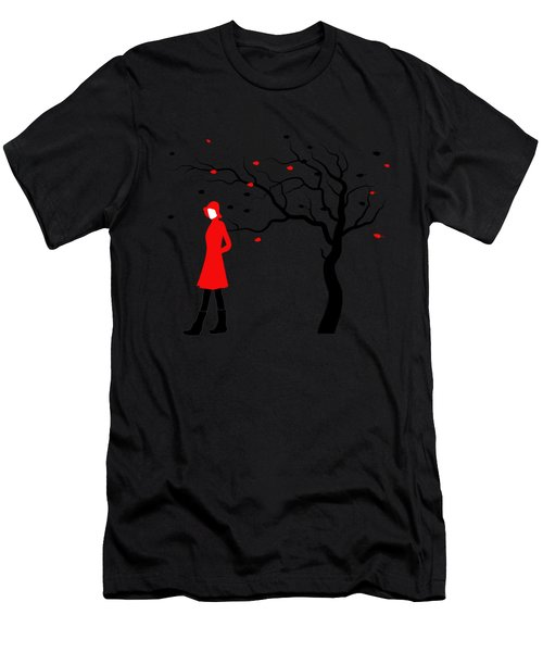 Woman In Red Hat And Trench Coat Walking In Blustery Autumn Rain Men's T-Shirt (Athletic Fit)