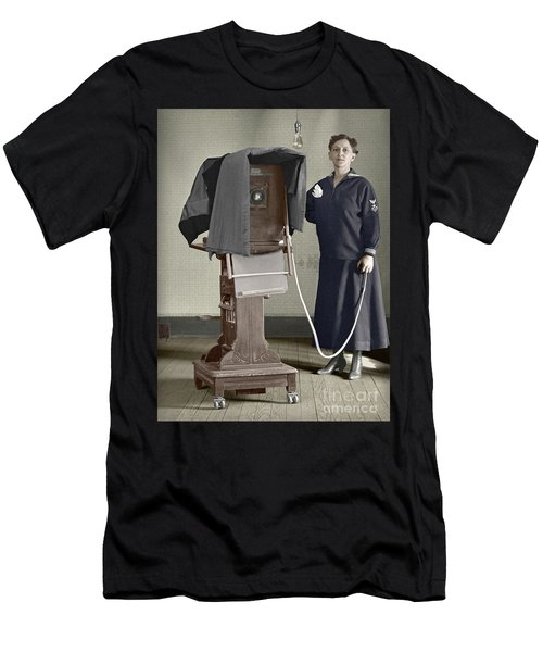 Men's T-Shirt (Slim Fit) featuring the photograph Woman Photographer With Large Camera 1900 by Martin Konopacki Restoration