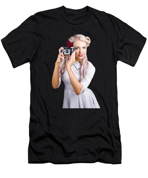 Woman Using Retro Film Camera Men's T-Shirt (Athletic Fit)