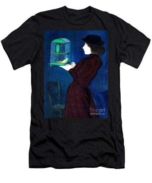 Woman With A Bird Cage  Detail Men's T-Shirt (Athletic Fit)