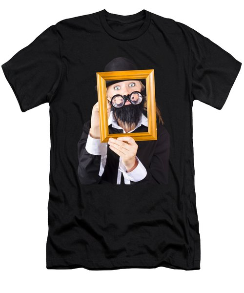 Woman With Empty Picture Frame Men's T-Shirt (Athletic Fit)