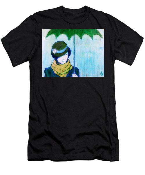 Woman With Green Umbrella Men's T-Shirt (Athletic Fit)
