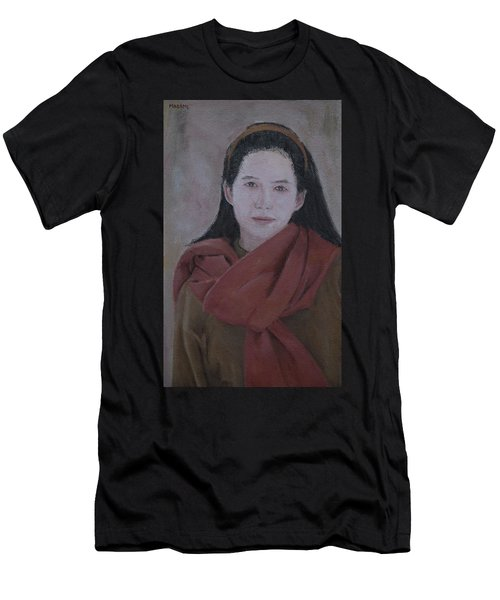 Woman With Scarf Men's T-Shirt (Athletic Fit)