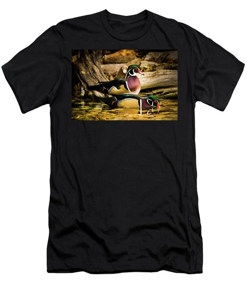 Wood Ducks In Autumn Waters Men's T-Shirt (Athletic Fit)