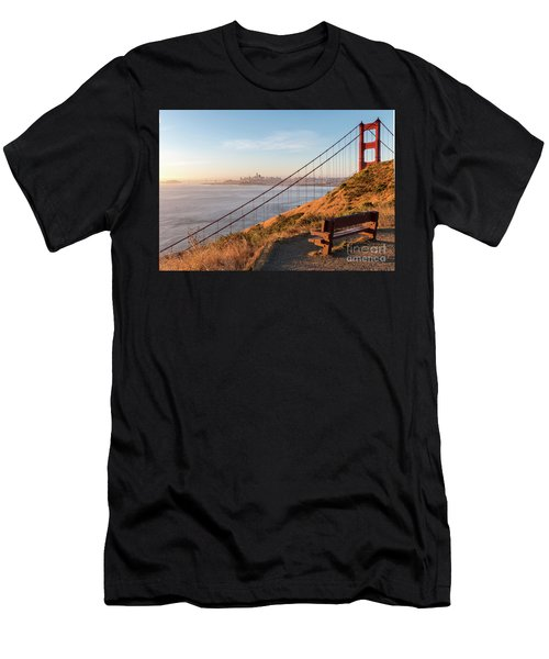 Wooden Bench Overlooking Downtown San Francisco With The Golden  Men's T-Shirt (Athletic Fit)