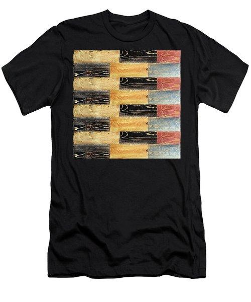 Woodgrain Art Abstract Golds Black Blues Men's T-Shirt (Slim Fit) by Scott D Van Osdol