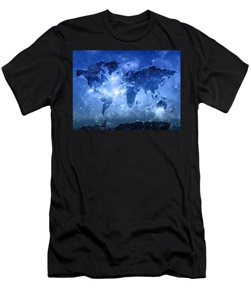 World Map Galaxy 9 Men's T-Shirt (Athletic Fit)