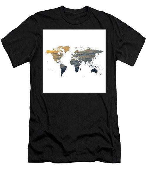 World Map - Ocean Texture Men's T-Shirt (Athletic Fit)