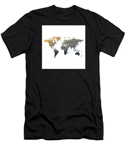 World Map - Ocean Texture Men's T-Shirt (Athletic Fit)