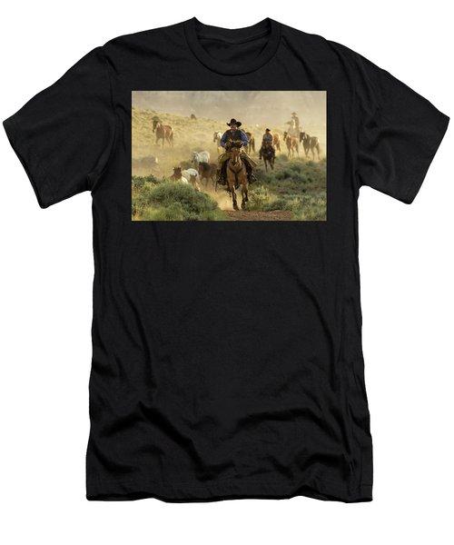 Wrangling The Horses At Sunrise At Absaroka Ranch, Wyoming Men's T-Shirt (Athletic Fit)
