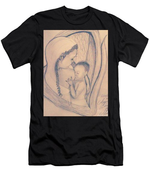 Wrapped Within The Angel Wings Of Momma Men's T-Shirt (Slim Fit) by Talisa Hartley
