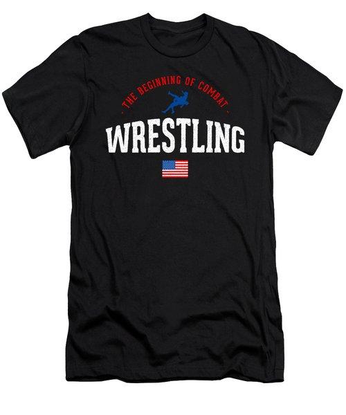 Wrestling Beginning Of Combat Usa Theme Gift Light Men's T-Shirt (Athletic Fit)