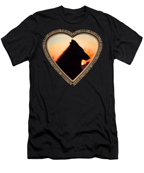 Wuffstar Happiness Is A Long Haired German Shepherd Heart Men's T-Shirt (Athletic Fit)