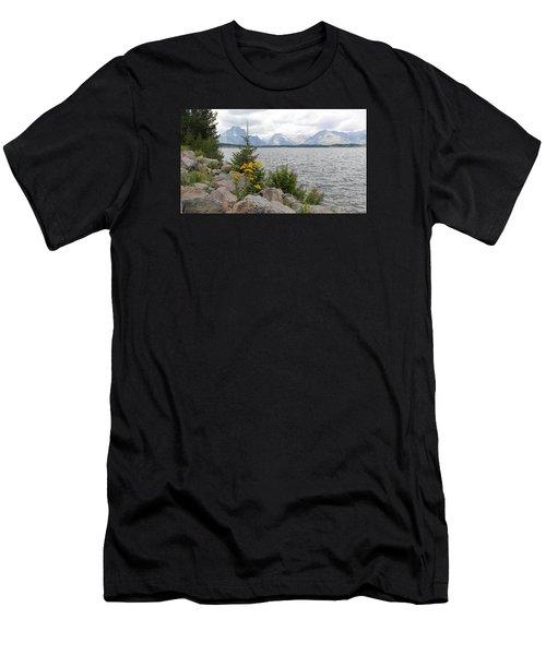 Wyoming Mountains Men's T-Shirt (Slim Fit) by Diane Bohna
