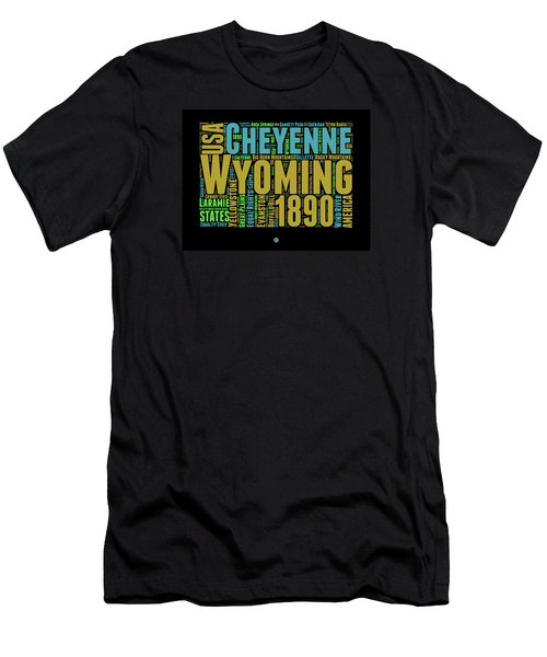 Wyoming Word Cloud Map 1 Men's T-Shirt (Athletic Fit)