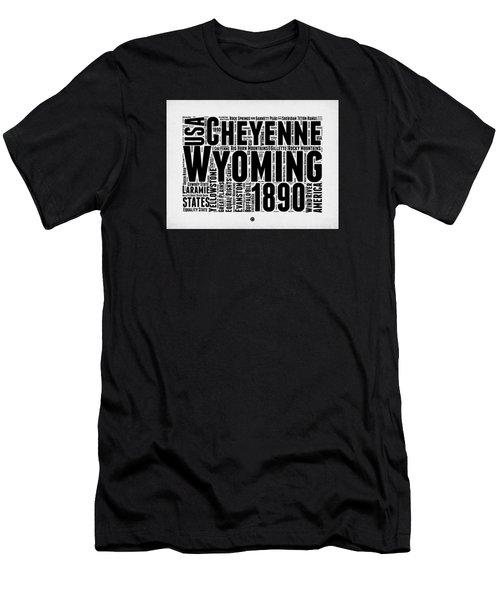 Wyoming Word Cloud Map 2 Men's T-Shirt (Slim Fit) by Naxart Studio