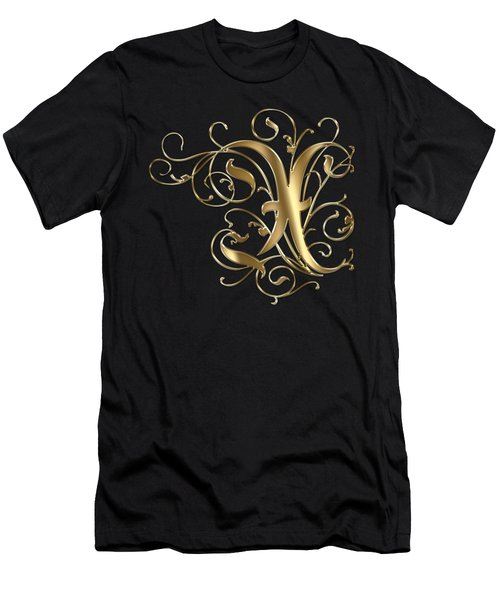X Golden Ornamental Letter Typography Men's T-Shirt (Athletic Fit)