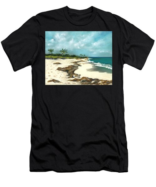 Men's T-Shirt (Athletic Fit) featuring the painting Xcaret - Mexico - Beach by Anastasiya Malakhova