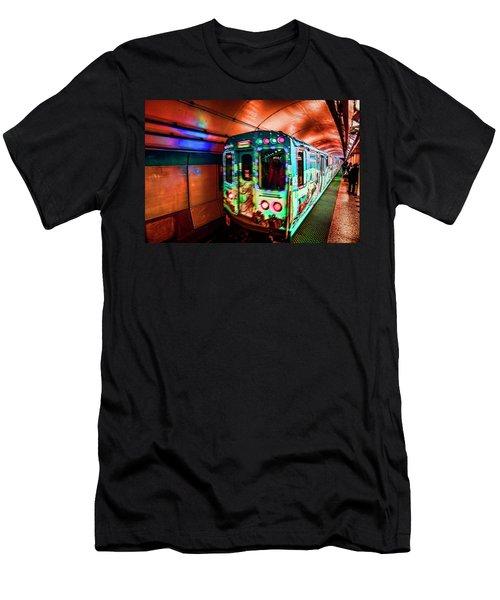 Xmas Subway Train Men's T-Shirt (Athletic Fit)