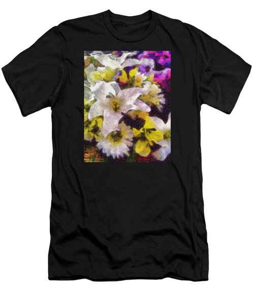 Men's T-Shirt (Slim Fit) featuring the photograph Xtreme Floral Six The White Star by Spyder Webb