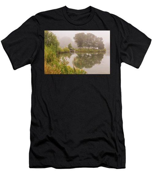 Misty Pond Bridge Reflection #5 Men's T-Shirt (Athletic Fit)