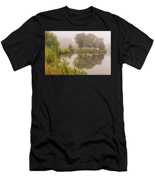 Misty Pond Bridge Reflection #5 Men's T-Shirt (Athletic Fit)