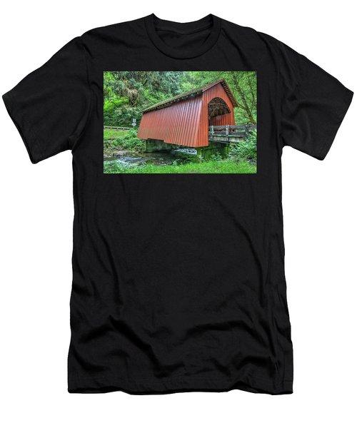 Yachats Covered Bridge Men's T-Shirt (Athletic Fit)