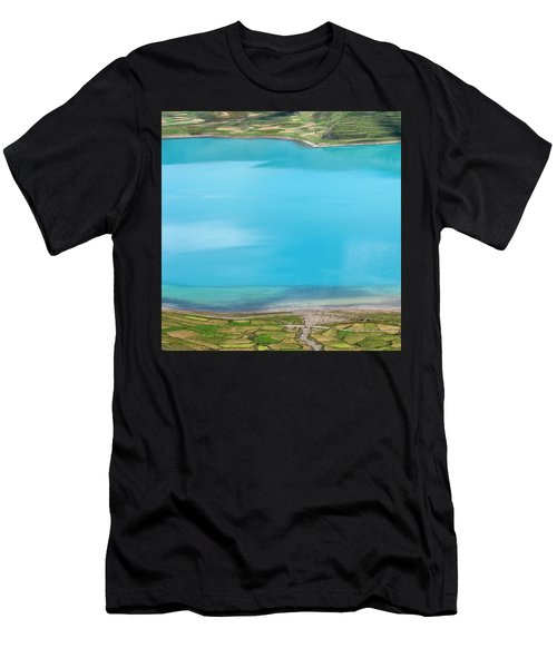 Men's T-Shirt (Athletic Fit) featuring the photograph Yamdrok Abstract 2, Tibet, 2007 by Hitendra SINKAR