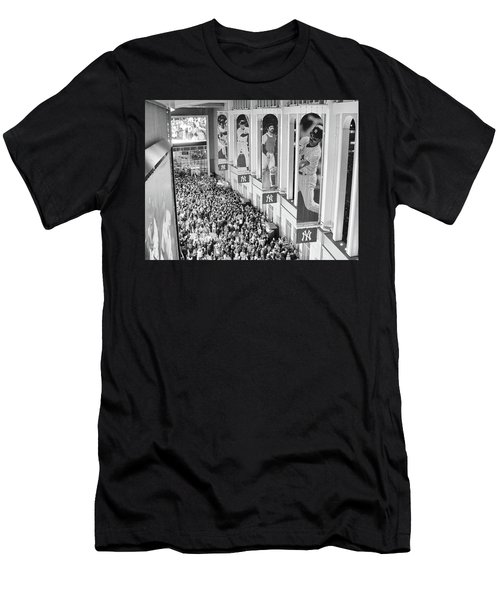 Yankee Stadium Great Hall 2009 World Series Black And White Men's T-Shirt (Athletic Fit)