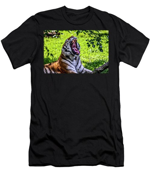 Men's T-Shirt (Slim Fit) featuring the photograph Yawning Tiger by Joann Copeland-Paul