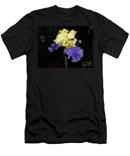 Yellow And Blue Iris Men's T-Shirt (Slim Fit) by Kathy McClure