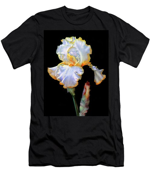 Yellow And White Iris Men's T-Shirt (Slim Fit) by Dave Mills