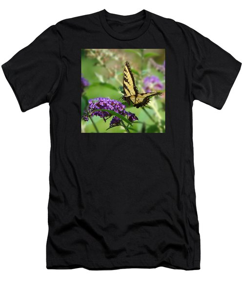 Yellow Butterfly On Purple Men's T-Shirt (Athletic Fit)