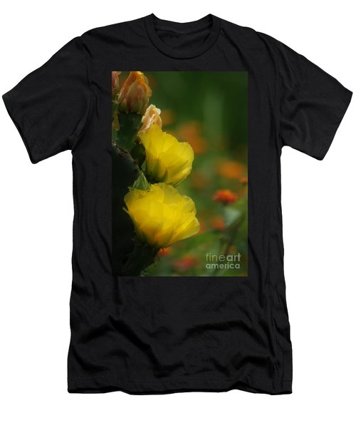 Men's T-Shirt (Athletic Fit) featuring the photograph Yellow Cactus Flower by Donna Bentley