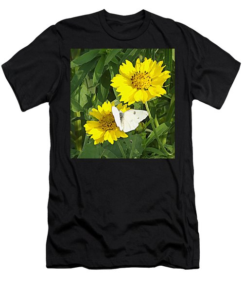 Men's T-Shirt (Athletic Fit) featuring the digital art Yellow Cow Pen Daisies by Shelli Fitzpatrick