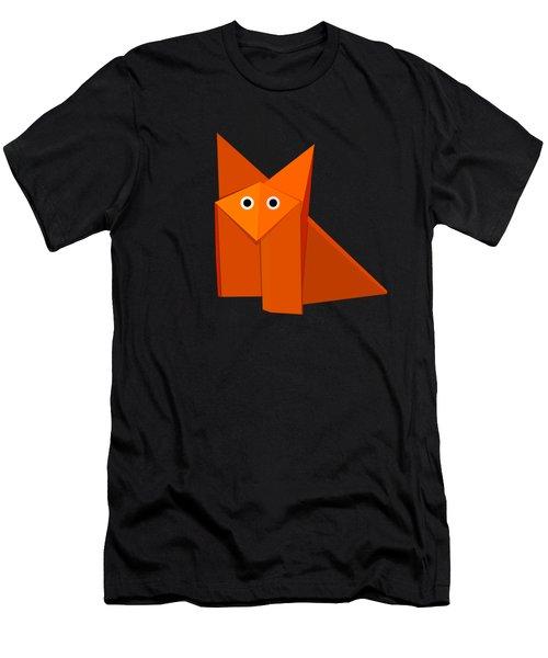 Yellow Cute Origami Fox Men's T-Shirt (Athletic Fit)