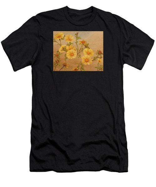 Men's T-Shirt (Athletic Fit) featuring the painting Yellow Daisies by Angeles M Pomata