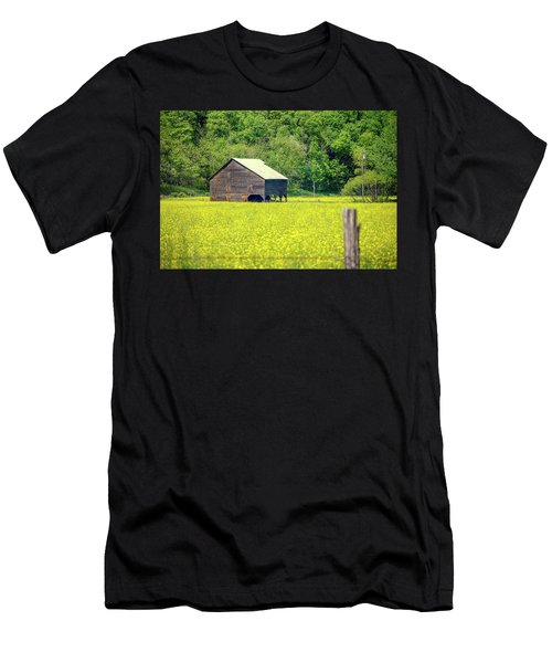 Yellow Field Rustic Shed Men's T-Shirt (Athletic Fit)