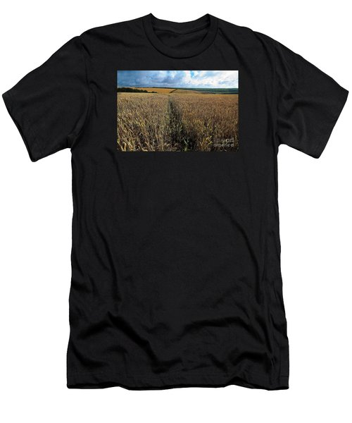 Men's T-Shirt (Slim Fit) featuring the photograph Yellow Filds And Fluffy Clouds by Gary Bridger