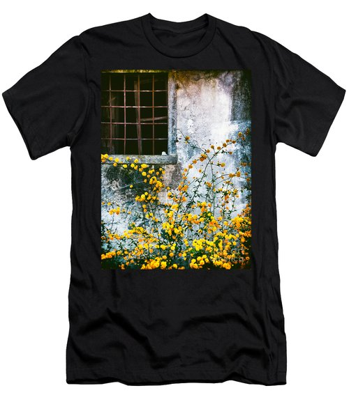 Men's T-Shirt (Slim Fit) featuring the photograph Yellow Flowers And Window by Silvia Ganora