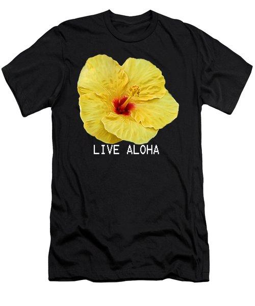 Yellow Hibiscus Men's T-Shirt (Slim Fit) by Pamela Walton