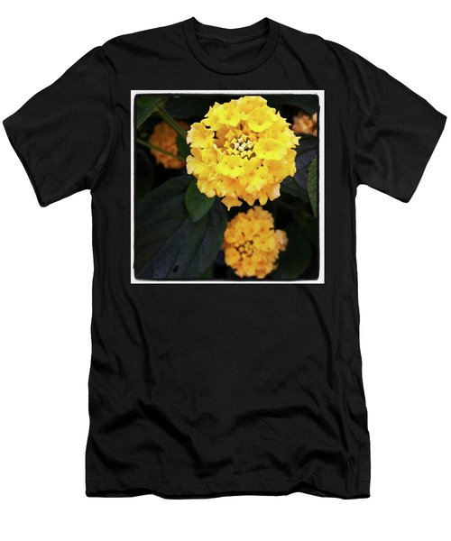 Men's T-Shirt (Athletic Fit) featuring the photograph Yellow Lantanas Along The Scenic Drive by Mr Photojimsf