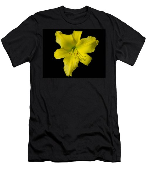 Yellow Lily Flower Black Background Men's T-Shirt (Slim Fit) by Bruce Pritchett