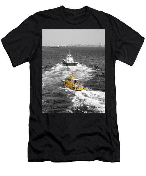 Yellow Pilot Yokohama Port Men's T-Shirt (Slim Fit) by Susan Lafleur