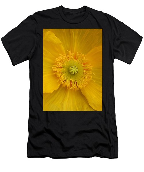 Yellow Poppy Flower Center Men's T-Shirt (Athletic Fit)