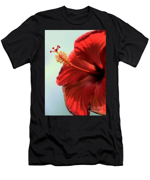 Yellow Red And Coral Hibiscus Profile Men's T-Shirt (Athletic Fit)