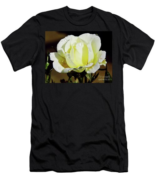 Yellow Rose Dew Drops Men's T-Shirt (Athletic Fit)