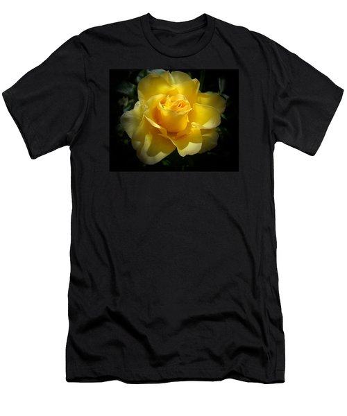 Yellow Rose Men's T-Shirt (Slim Fit) by Veronica Rickard