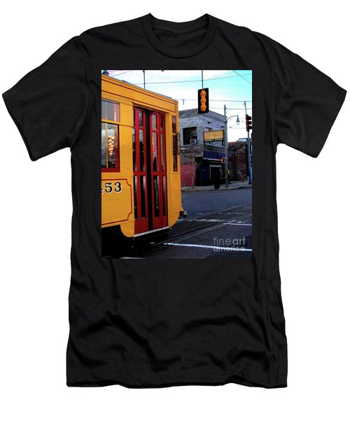 Yellow Trolley At Earnestine And Hazels Men's T-Shirt (Slim Fit) by Lizi Beard-Ward